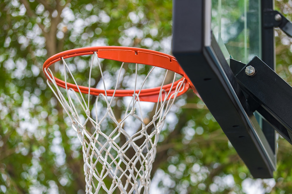 Close up of basketball ring and net