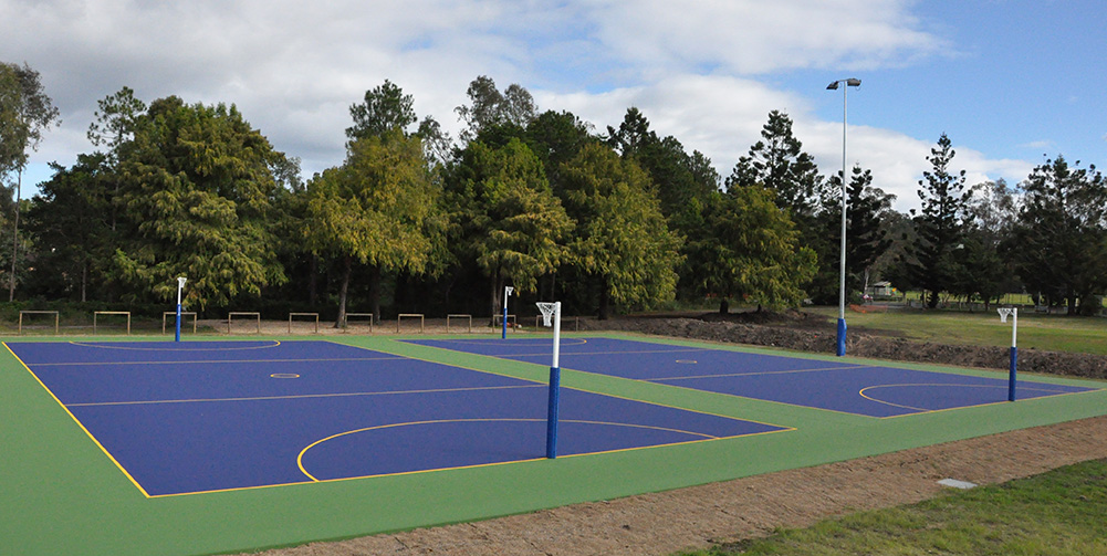 Netball courts in Brisbane, blue and green in colour