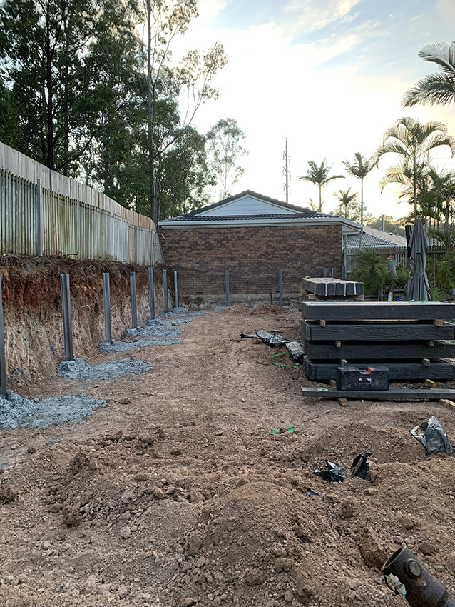 installing a retaining wall