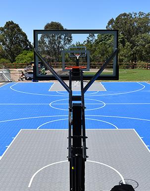 Basketball hoop from behind