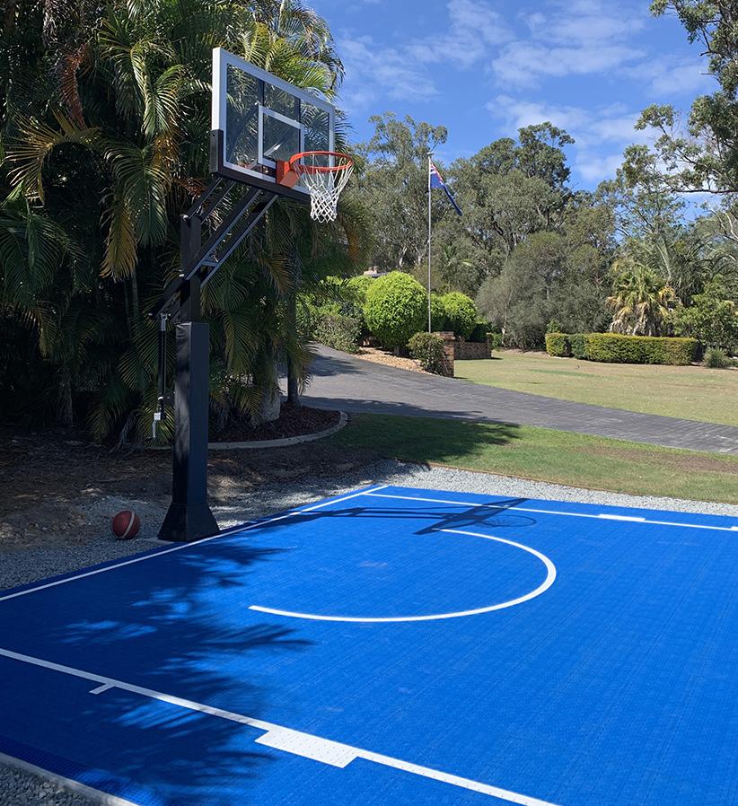 blue backyard basketball court