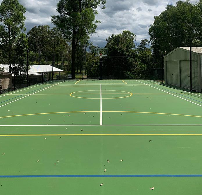 Green volleyball court in backyard