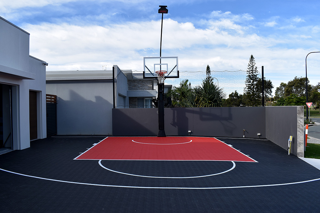 black and red basketball court at Newport